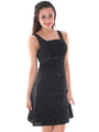 AC307 Vintage Snowflake Trim Cocktail Dress - Black, Alt View Thumbnail