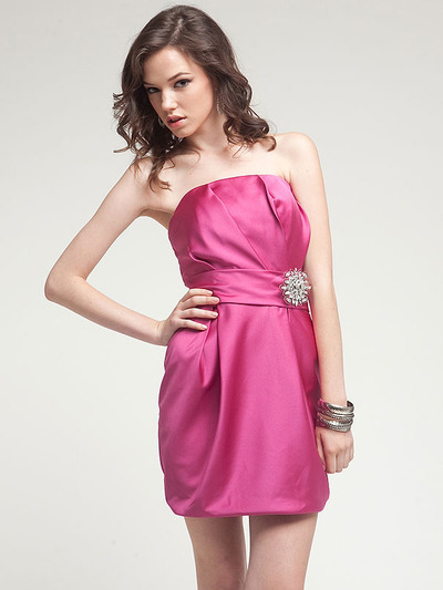 AC309 Satin Cocktail Dress - Fuschia, Front View Medium