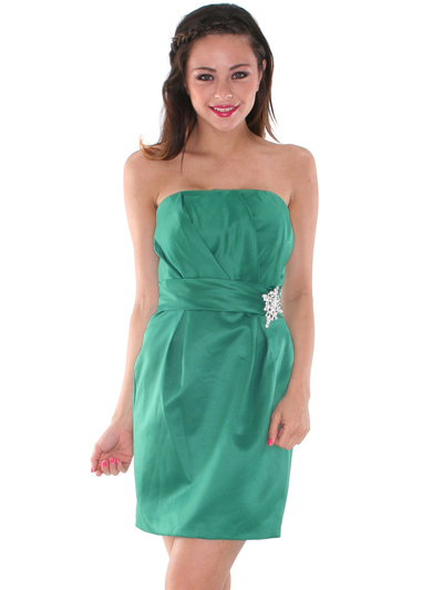 AC309 Satin Cocktail Dress - Green, Front View Medium