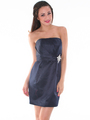 AC309 Satin Cocktail Dress - Navy, Front View Thumbnail
