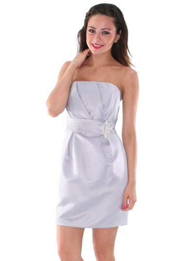 AC309 Satin Cocktail Dress - Silver, Front View Medium