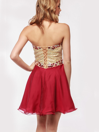 AC354 Strapless Sweetheart Embellished Cocktail Dress - Burgundy, Back View Medium