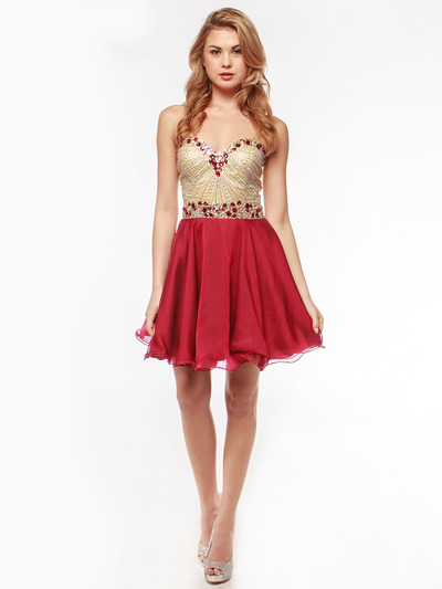 AC354 Strapless Sweetheart Embellished Cocktail Dress - Burgundy, Front View Medium