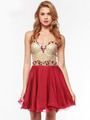 AC354 Strapless Sweetheart Embellished Cocktail Dress - Burgundy, Alt View Thumbnail