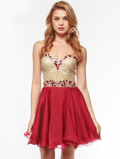 AC354 Strapless Sweetheart Embellished Cocktail Dress - Burgundy, Alt View Medium