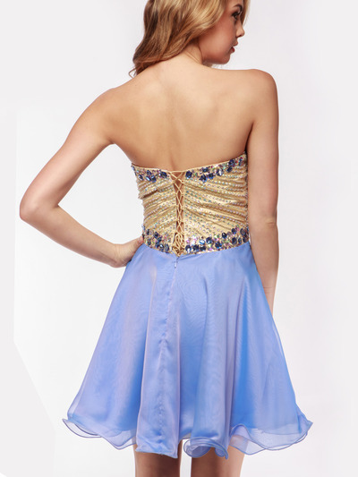 AC354 Strapless Sweetheart Embellished Cocktail Dress - Sky Blue, Back View Medium