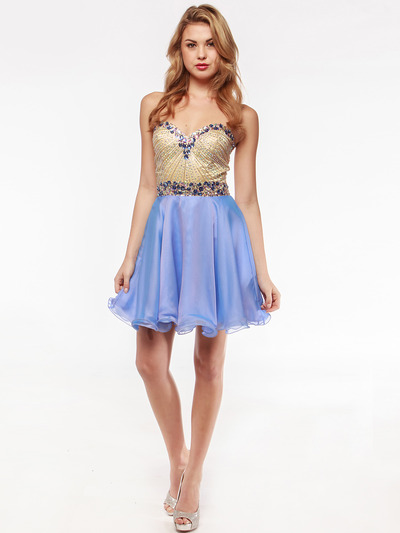 AC354 Strapless Sweetheart Embellished Cocktail Dress - Sky Blue, Front View Medium