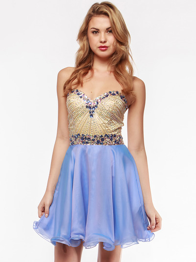 AC354 Strapless Sweetheart Embellished Cocktail Dress - Sky Blue, Alt View Medium