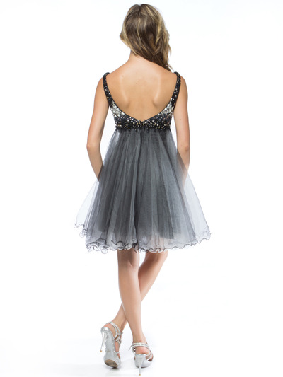 AC451 Sequin Bodice Baby Doll Party Dress - Black, Back View Medium