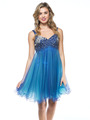 AC451 Sequin Bodice Baby Doll Party Dress - Royal, Front View Thumbnail