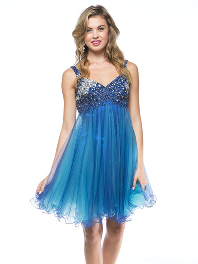 AC451 Sequin Bodice Baby Doll Party Dress - Royal, Front View Medium