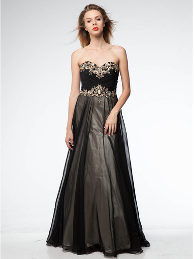 AC509 Black and Gold Prom Gown - Black Gold, Front View Medium