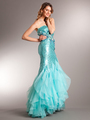 AC510 Aqua Sequin Prom Dress - Aqua, Front View Thumbnail
