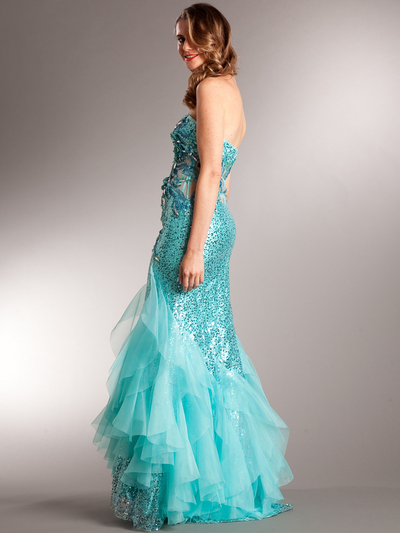 AC510 Aqua Sequin Prom Dress - Aqua, Back View Medium