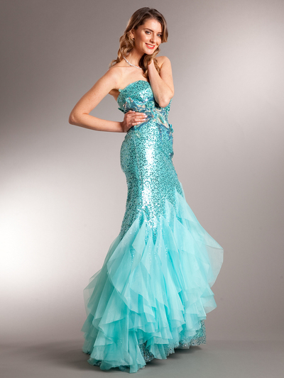 AC510 Aqua Sequin Prom Dress - Aqua, Front View Medium