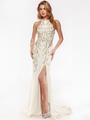 AC552 High Neck Embellished Evening Dress with Side Panel     - Off White, Front View Thumbnail