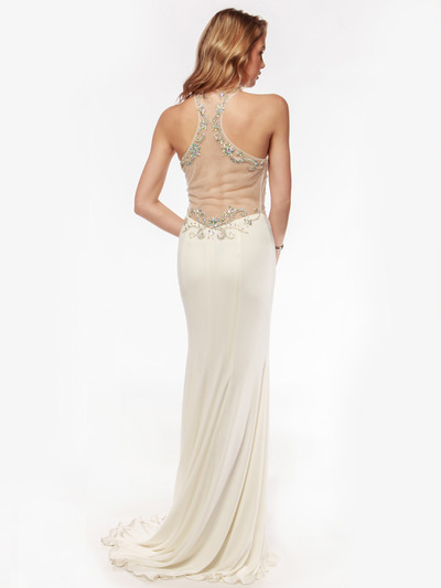 AC552 High Neck Embellished Evening Dress with Side Panel     - Off White, Back View Medium