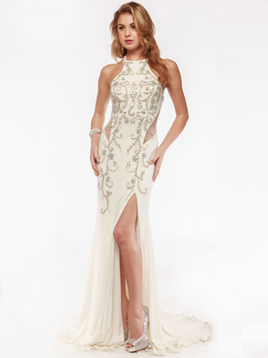 AC552 High Neck Embellished Evening Dress with Side Panel    , Off White