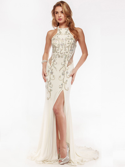AC552 High Neck Embellished Evening Dress with Side Panel     - Off White, Front View Medium