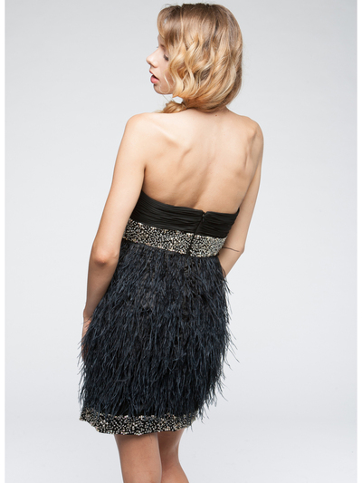 AC611 Beads and Feather Formal Cocktail Dress - Black, Back View Medium