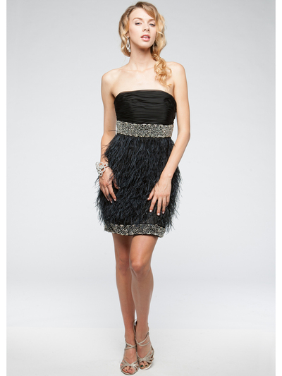AC611 Beads and Feather Formal Cocktail Dress - Black, Front View Medium