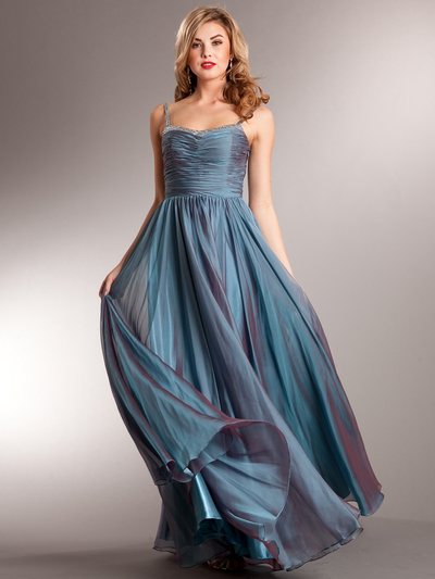 AC624 Glitz and Glamour Prom Dress - Teal, Front View Medium
