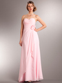 AC626 Chiffon Special Occasion Dress - Blush, Front View Thumbnail