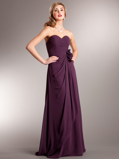 AC626 Chiffon Special Occasion Dress - Eggplant, Front View Medium