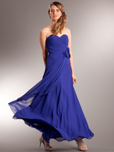 AC626 Chiffon Special Occasion Dress - Royal, Front View Medium