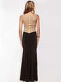 AC631 Round Neck Shimmering Back Evening Prom Dress - Black, Back View Thumbnail