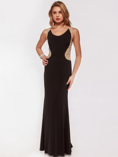 AC631 Round Neck Shimmering Back Evening Prom Dress - Black, Front View Medium