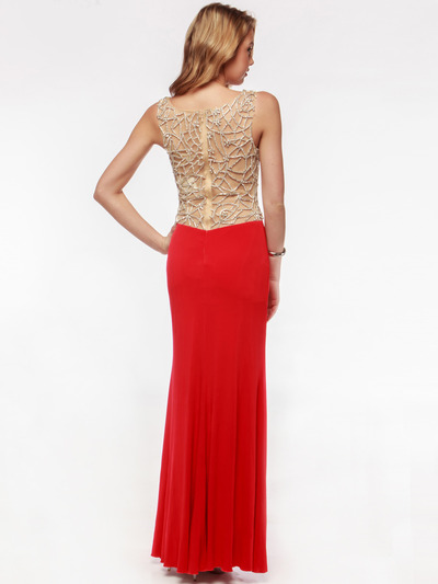 AC631 Round Neck Shimmering Back Evening Prom Dress - Red, Back View Medium