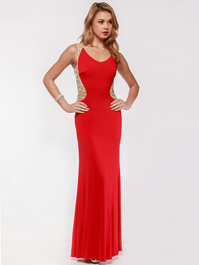 AC631 Round Neck Shimmering Back Evening Prom Dress - Red, Front View Medium