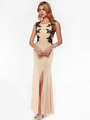 AC632 Sleeveless Embroidery Evening Dress with Back Panel    - Nude, Front View Thumbnail
