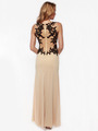 AC632 Sleeveless Embroidery Evening Dress with Back Panel    - Nude, Back View Thumbnail