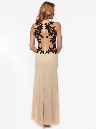 AC632 Sleeveless Embroidery Evening Dress with Back Panel    - Nude, Back View Medium