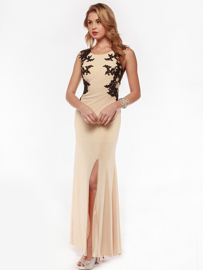 AC632 Sleeveless Embroidery Evening Dress with Back Panel    - Nude, Front View Medium