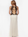AC632 Sleeveless Embroidery Evening Dress with Back Panel    - Off White, Back View Thumbnail