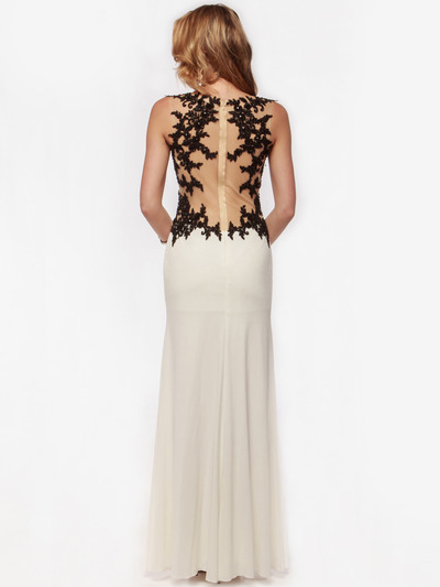AC632 Sleeveless Embroidery Evening Dress with Back Panel    - Off White, Back View Medium