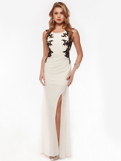 AC632 Sleeveless Embroidery Evening Dress with Back Panel    - Off White, Front View Medium