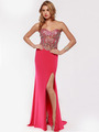 AC633 Jeweled Strapless Evening Dress with Slit - Fuchsia, Front View Thumbnail