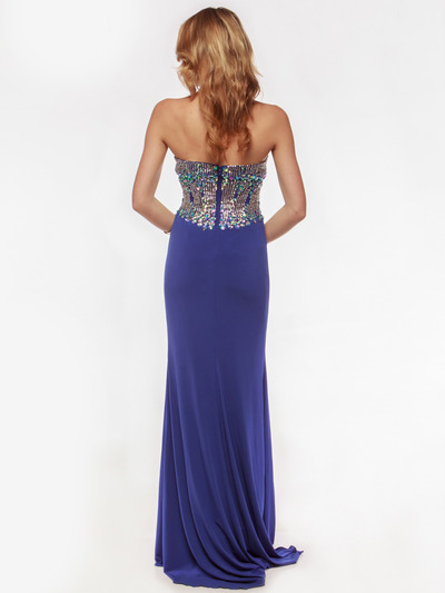 AC633 Jeweled Strapless Evening Dress with Slit - Royal Blue, Back View Medium