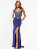 AC633 Jeweled Strapless Evening Dress with Slit, Royal Blue