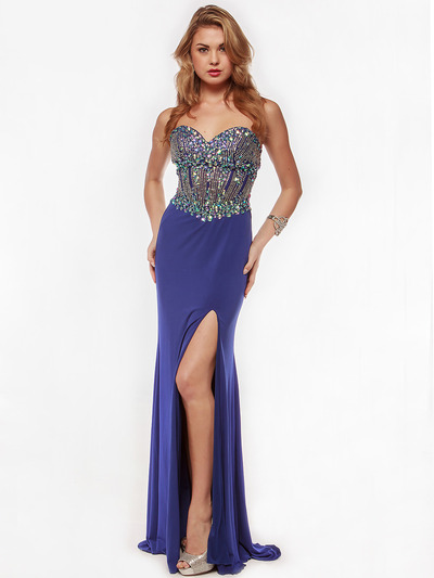 AC633 Jeweled Strapless Evening Dress with Slit - Royal Blue, Front View Medium