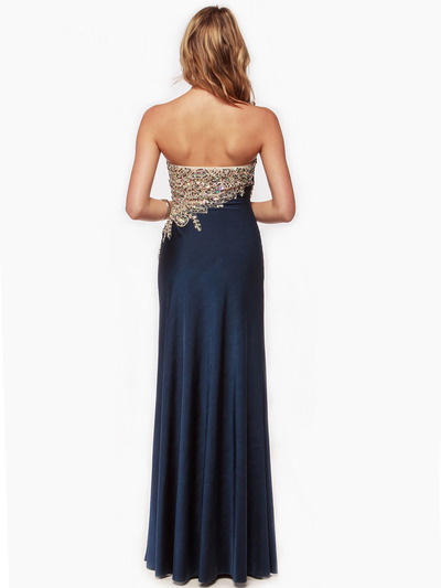 AC635 Embellished Strapless Evening Dress - Navy, Back View Medium