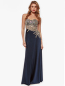 AC635 Embellished Strapless Evening Dress, Navy