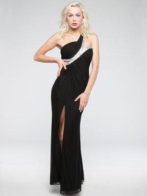 AC701 Keyhole Waist Evening Dress, Black