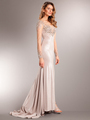 AC707 Long Chiffon Sleeves Crystal Evening Gown - Champagne, Front View Thumbnail