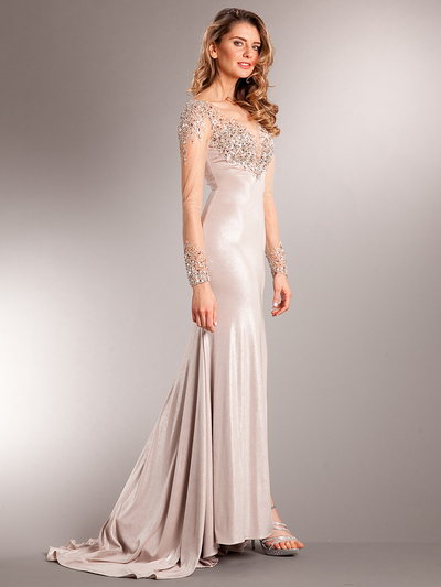 AC707 Long Chiffon Sleeves Crystal Evening Gown - Champagne, Front View Medium