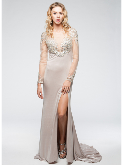 AC707 Long Chiffon Sleeves Crystal Evening Gown - Champagne, Alt View Medium